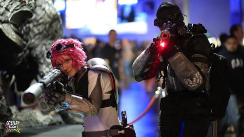 Chelsey Moyer as Mira Han and Jaime Scheffler as Ghost from Starcraft